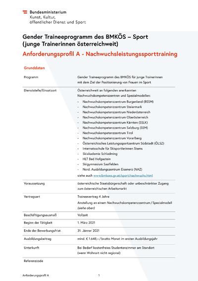 1 Gender Traineeprogramm öffentliche Ausschreibung Ausbildung A 2021
