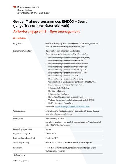 2 Gender Traineeprogramm öffentliche Ausschreibung Ausbildung B 2021